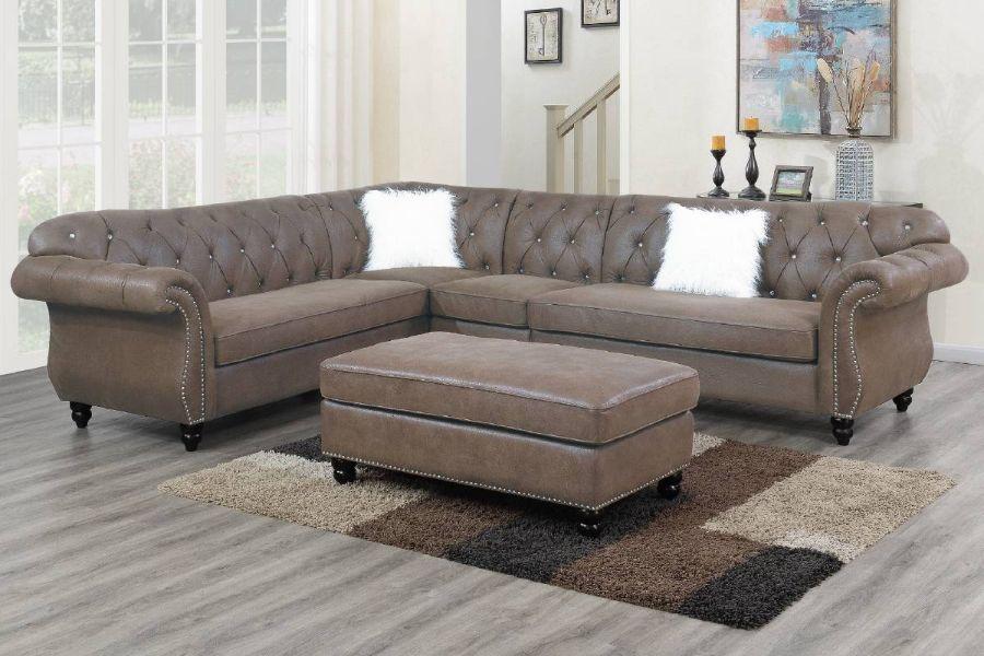 Poundex F6437 4 pc jolanda gene dark coffee breathable leatherette sectional sofa with tufted backs