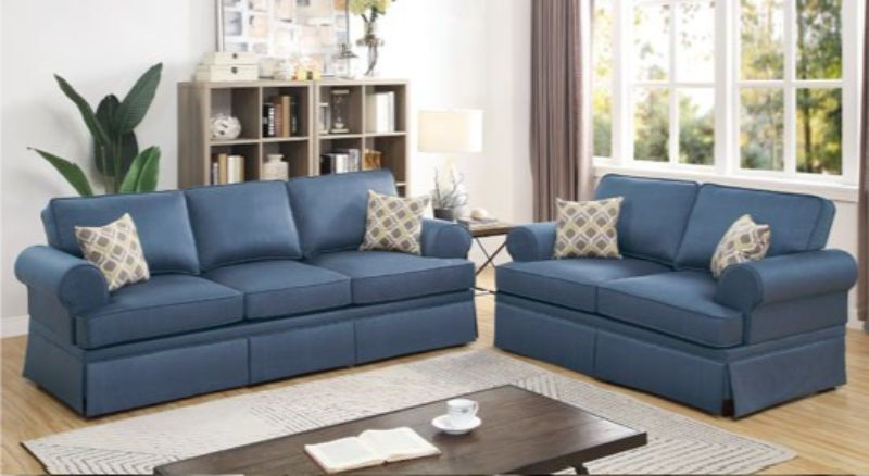 Poundex F6443 2 pc Charlton home warrick blue glossy polyfiber sofa and love seat set