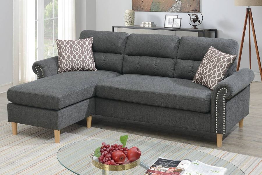 Poundex F6447 2 pc leta slate velvet fabric apartment size sectional sofa reversible chaise