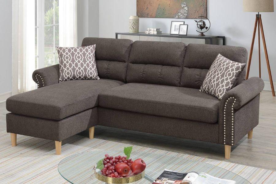 Poundex F6448 2 pc leta tan velvet fabric apartment size sectional sofa reversible chaise