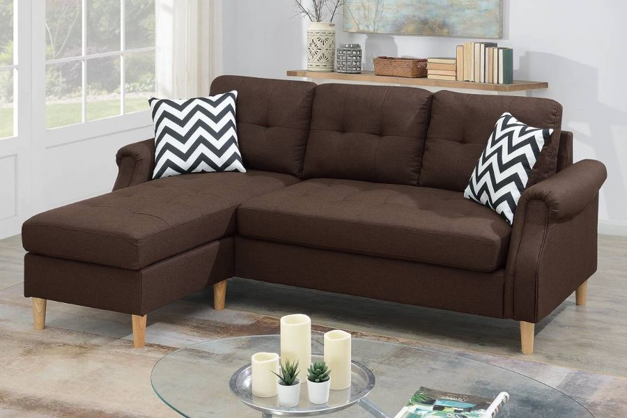 Poundex F6457 2 pc leta dark coffee polyfiber fabric apartment size sectional sofa reversible chaise