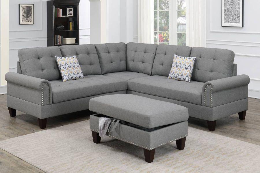 Poundex F6475 3 pc Biloxi II grey polyfiber fabric sectional sofa and storage ottoman