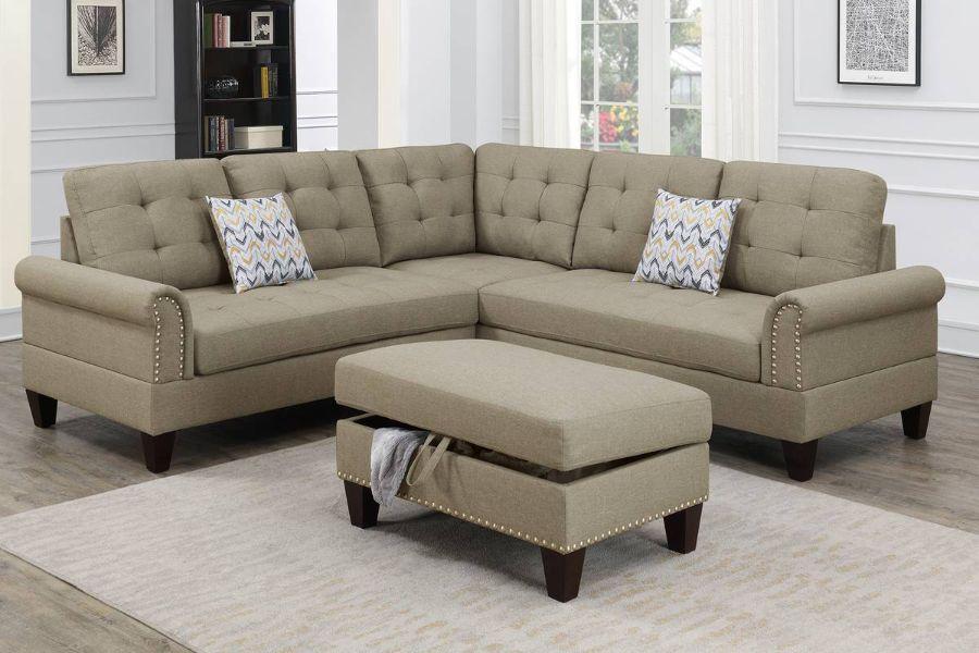 Poundex F6476 3 pc Biloxi II beige polyfiber fabric sectional sofa and storage ottoman