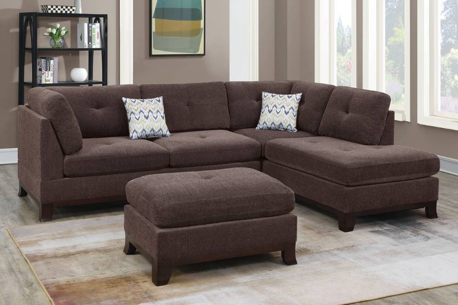 Poundex F6477 3 pc Canora gene dark coffee chenille fabric reversible chaise sectional sofa and ottoman