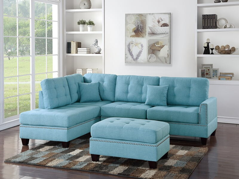 Poundex F6505 3 pc Allcott hill romulus blue poly fiber fabric sectional sofa reversible chaise and ottoman