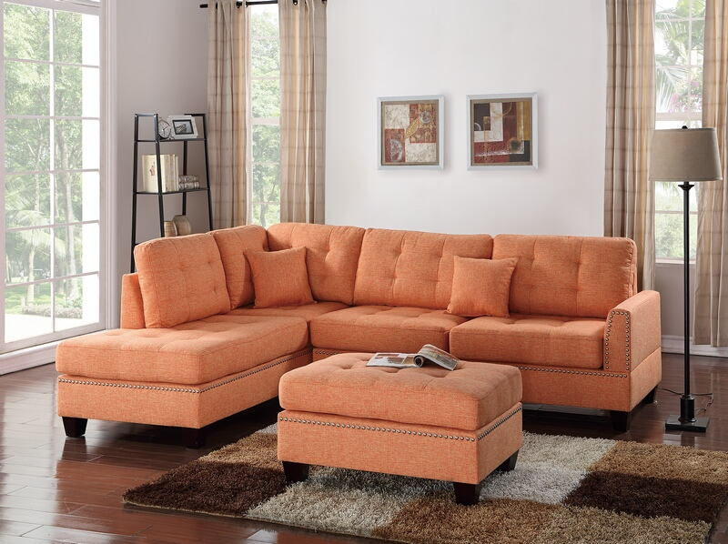 Poundex F6506 3 pc Martinique II collection citrus poly fiber fabric upholstered sectional sofa with reversible chaise and ottoman