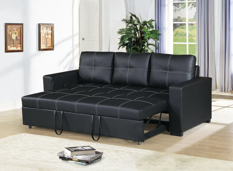 Stupendous Poundex F6530 2 Pc Daryl Ii Black Faux Leather Sofa Set Pull Out Sleep Area Pdpeps Interior Chair Design Pdpepsorg