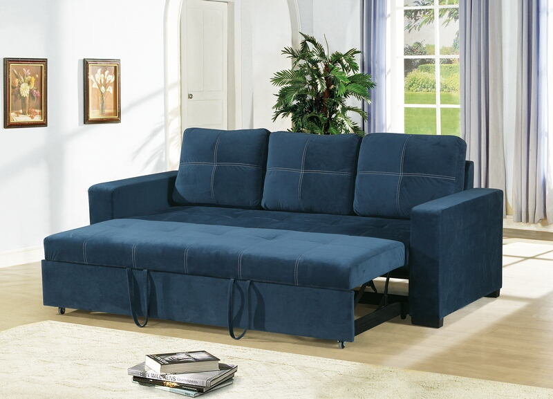 Poundex F6531 2 pc Daryl II collection navy linen like fabric upholstered sofa set with pull out sleep area