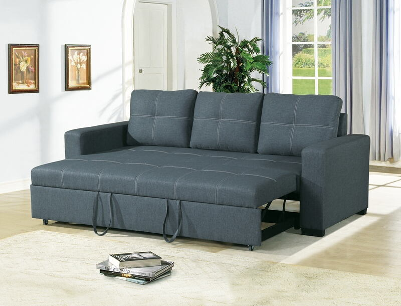 Poundex F6532 2 pc Daryl II collection blue grey linen like fabric upholstered sofa set with pull out sleep area