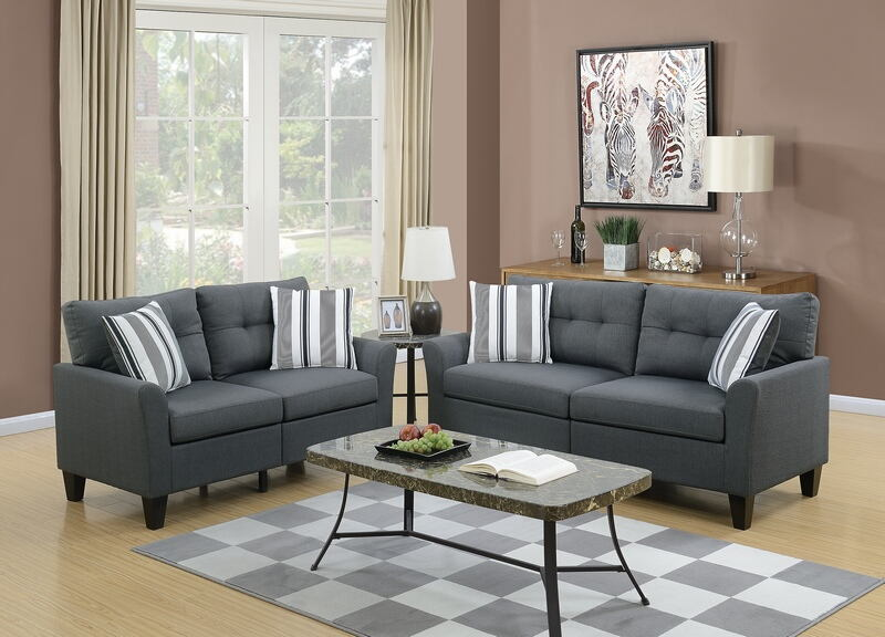 Poundex F6533 2 pc Bronx ivy filion charcoal glossy polyfiber fabric sofa and love seat set