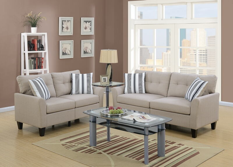 Poundex F6534 2 pc Collette II beige glossy polyfiber fabric sofa and love seat set