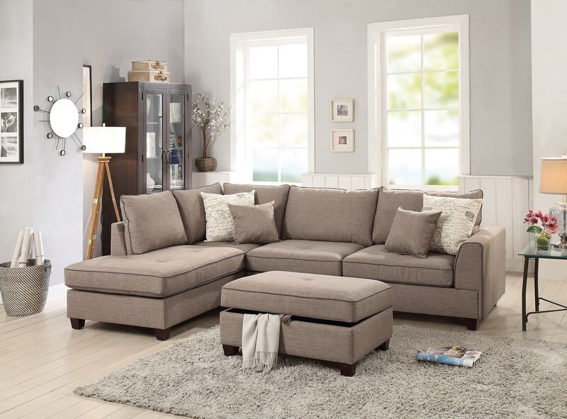 Poundex F6544 3 pc Cleveland mocha woven fabric reversible chaise storage ottoman sectional sofa