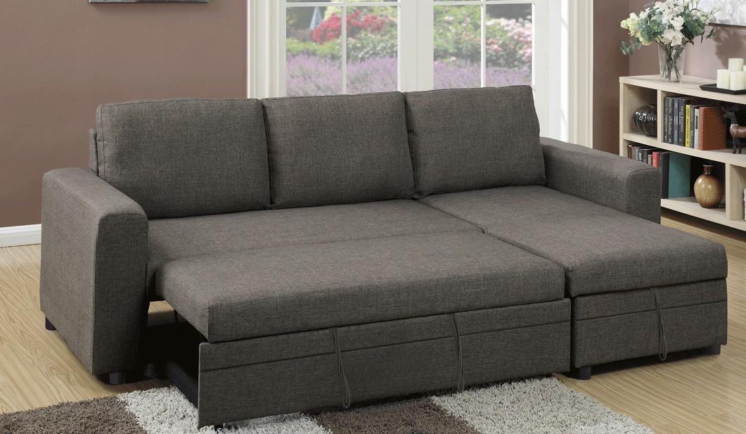 Poundex F6574 2 pc Latitude Run Venters ash black polyfiber sectional sofa set pull out sleep area