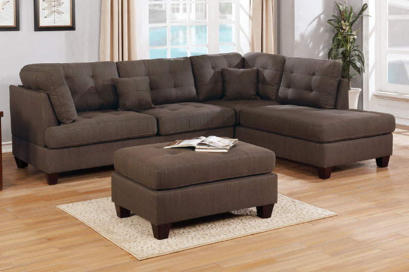 Poundex F6582 3 pc Latitude run dracaena martinique dark coffee linen like fabric sectional sofa with reversible chaise and ottoman