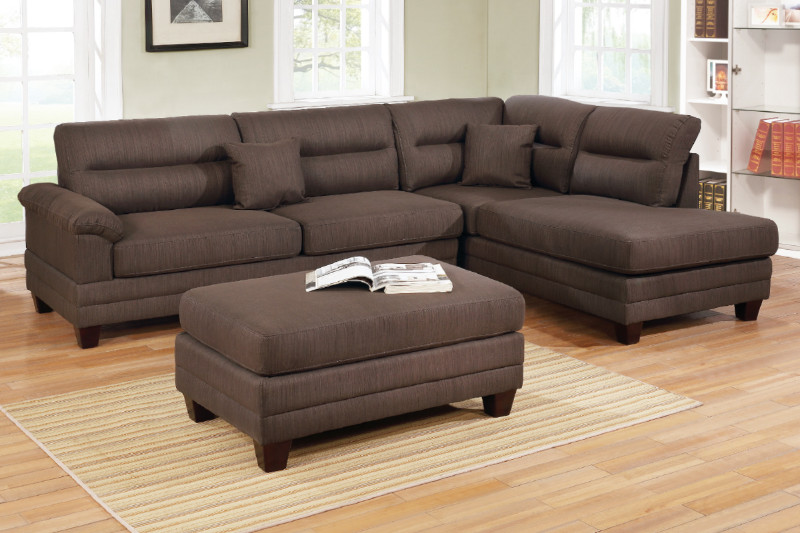 Poundex F6586 3 pc martinique dark coffee linen like fabric sectional sofa with reversible chaise and ottoman