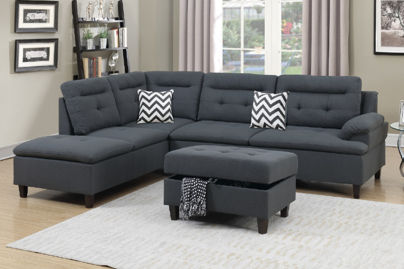 Poundex F6590 3 pc martinique II charcoal linen like fabric sectional sofa reversible chaise and storage ottoman