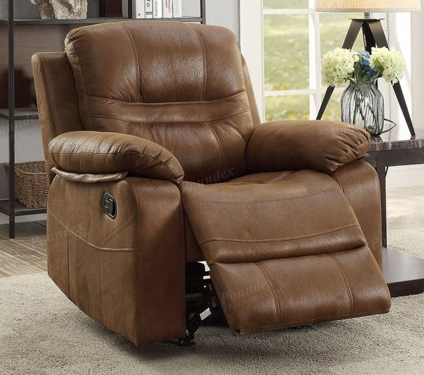 Poundex F6648 Collette dark brown breathable leatherette standard motion reclining recliner chair with overstuffed arms