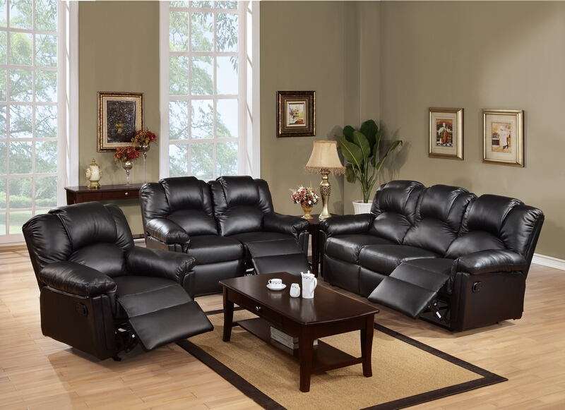 Poundex F6671-72 2 pc Red barrel studio kozak black bonded leather sofa and love seat set with recliner ends