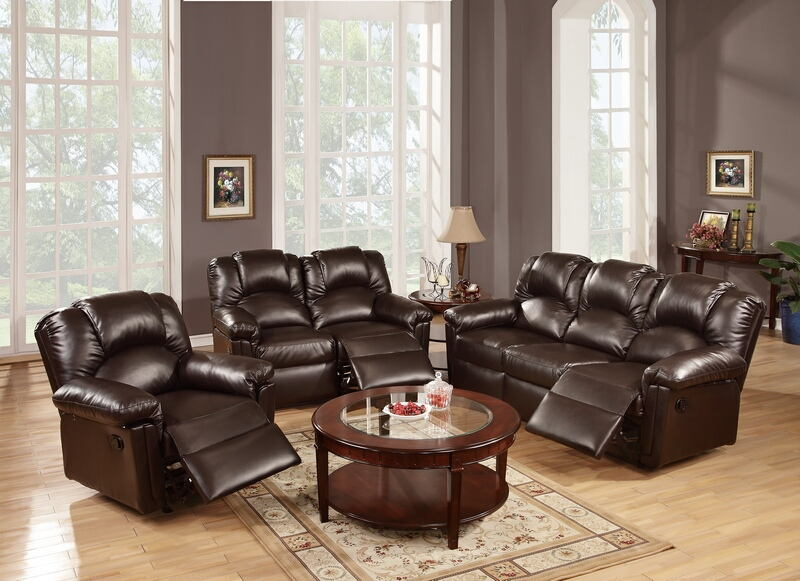 2 pc halifax ii collection espresso bonded leather upholstery sofa and love seat set with recliner ends