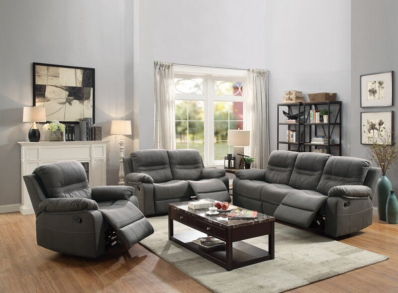 Poundex F6698-99 2 pc Carlsbad slate blue breathable leatherette sofa and love seat set with reclining ends