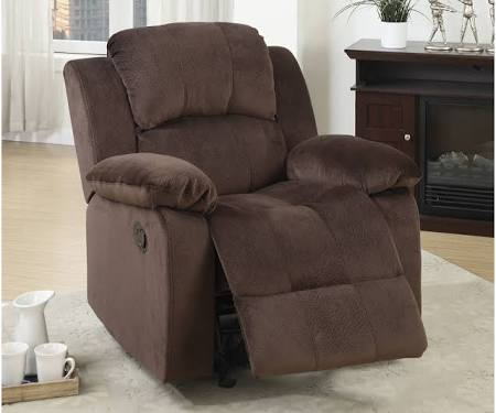 Poundex F6713 Collette chocolate padded microfiber standard motion reclining recliner chair with overstuffed arms