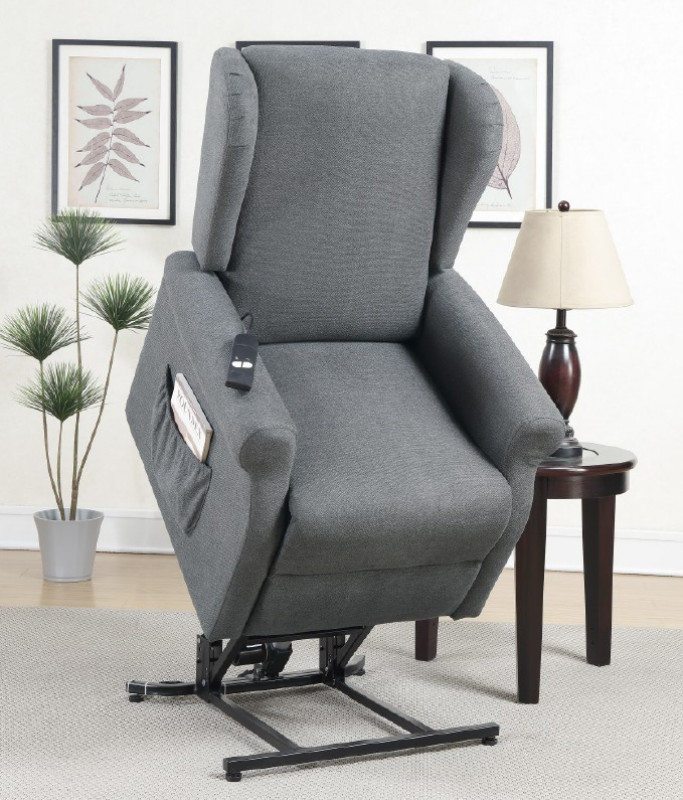 Poundex F6730 Mabel II charcoal hygiene fabric power lift recliner chair