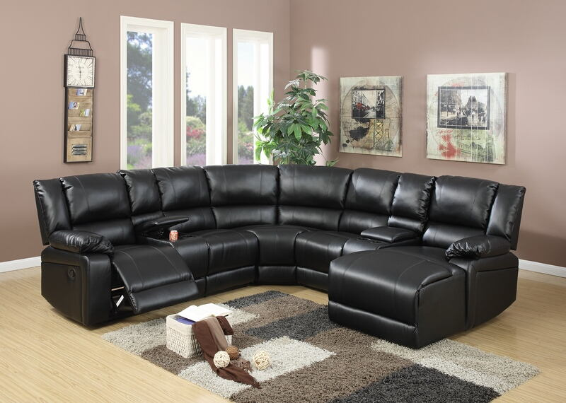 Poundex F6745 5 pc Red barrel studio lagarde black bonded leather sectional sofa with chaise and recliners