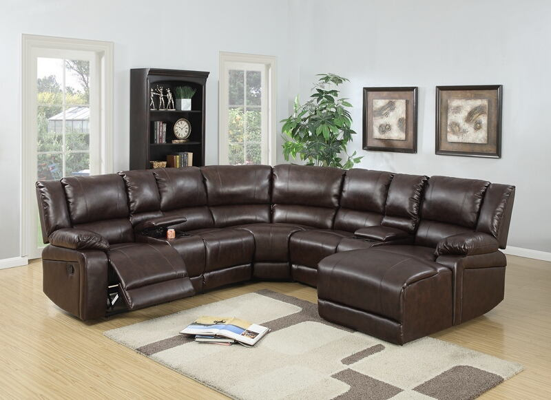 Poundex F6746 5 Pc Collette Brown Bonded Leather Sectional Sofa With