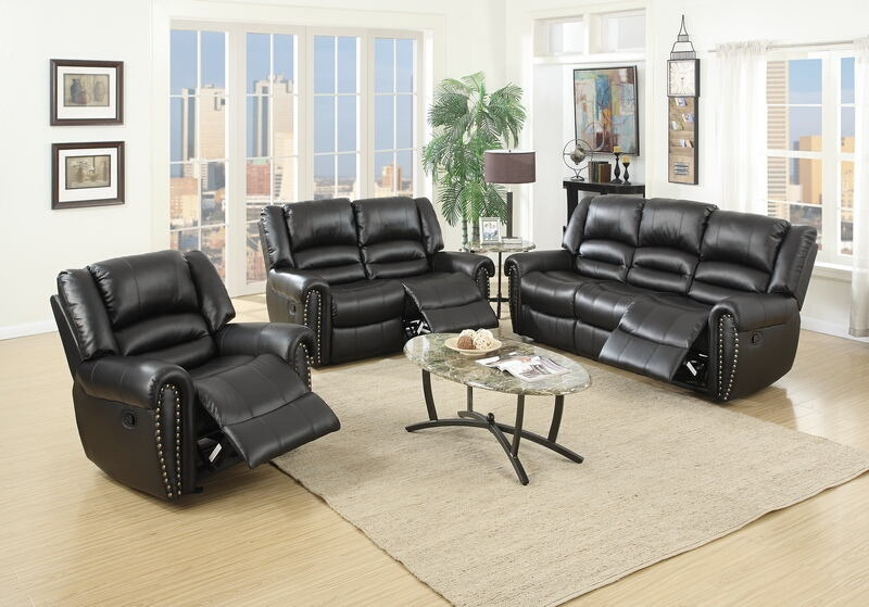 Poundex F6749-50 2 pc samantha iii black bonded leather sofa and love seat set with nail head trim