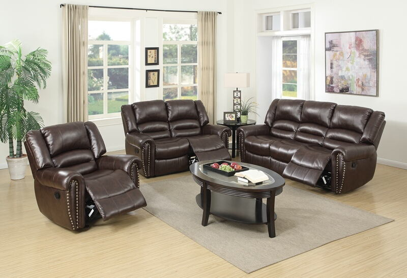 Poundex F6753-54 2 pc samantha iii brown bonded leather sofa and love seat set with nail head trim