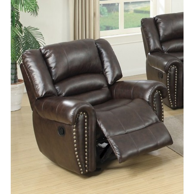 Poundex F6755 Collette brown bonded leather standard motion reclining recliner chair with overstuffed arms