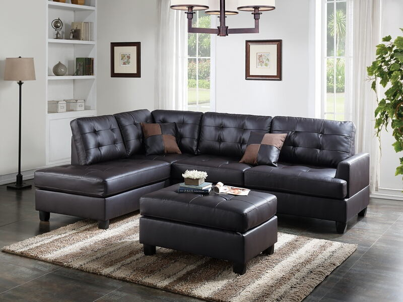 Prime Poundex F6855 3 Pc Ebern Designs Matthew Martinique Espresso Faux Leather Sectional Sofa Reversible Chaise And Ottoman Evergreenethics Interior Chair Design Evergreenethicsorg