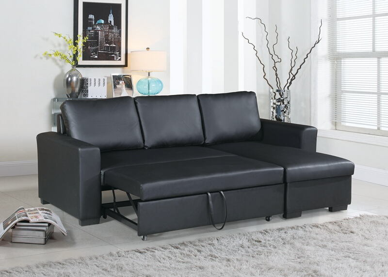 Poundex F6890 2 pc Everly collection black faux leather upholstered sectional sofa set with pull out sleep area