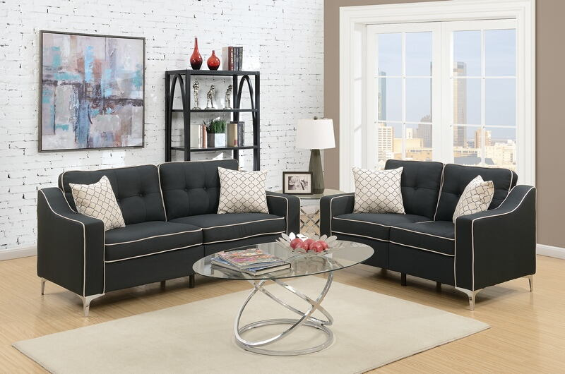 Poundex F6891 2 pc Sampson black linen like fabric sofa and love seat set