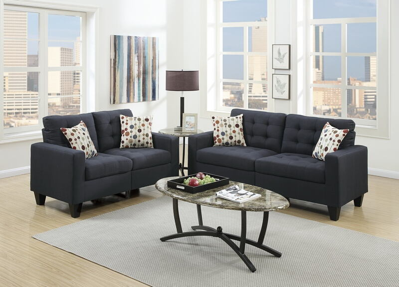 Poundex F6903 2 pc collette collection black faux linen fabric upholstered sofa and love seat set
