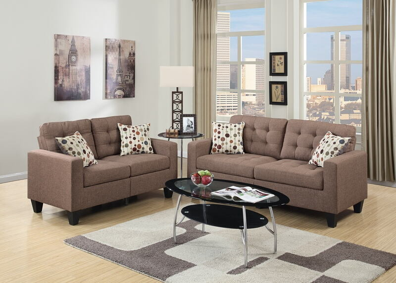 Poundex F6904 2 pc Windsor kayla collette light coffee faux linen fabric sofa and love seat set