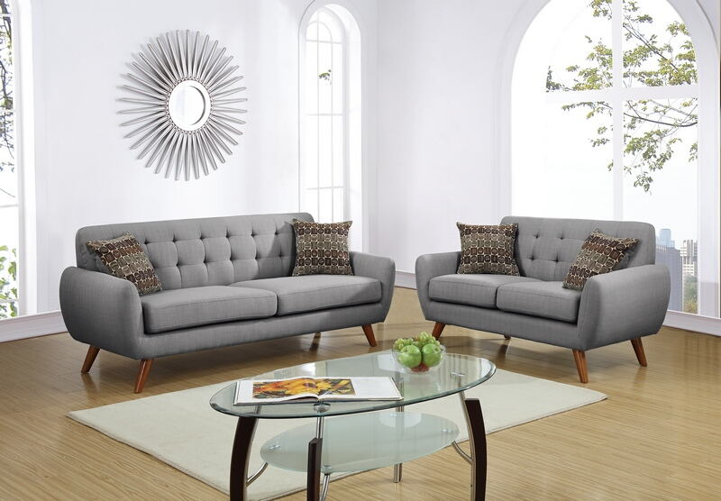 Poundex F6912 2 pc collette collection grey faux linen fabric upholstered sofa and love seat set. features a tufted back