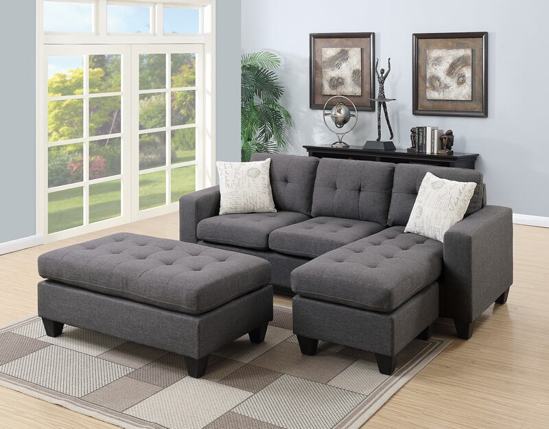 Poundex F6920 2 pc daryl Blue grey polyfiber fabric reversible sectional sofa set chaise and ottoman