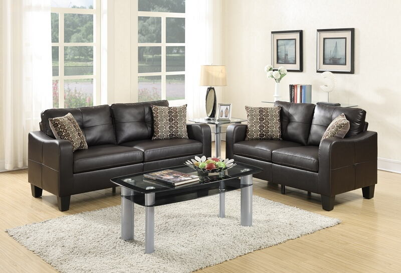 Poundex F6921 2 Pc Collette II Espresso Bonded Leather Sofa And Love Seat  Set