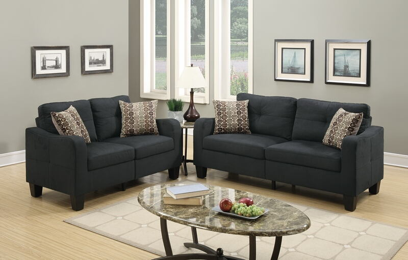 Poundex F6922 2 pc collette II black linen like fabric sofa and love seat set