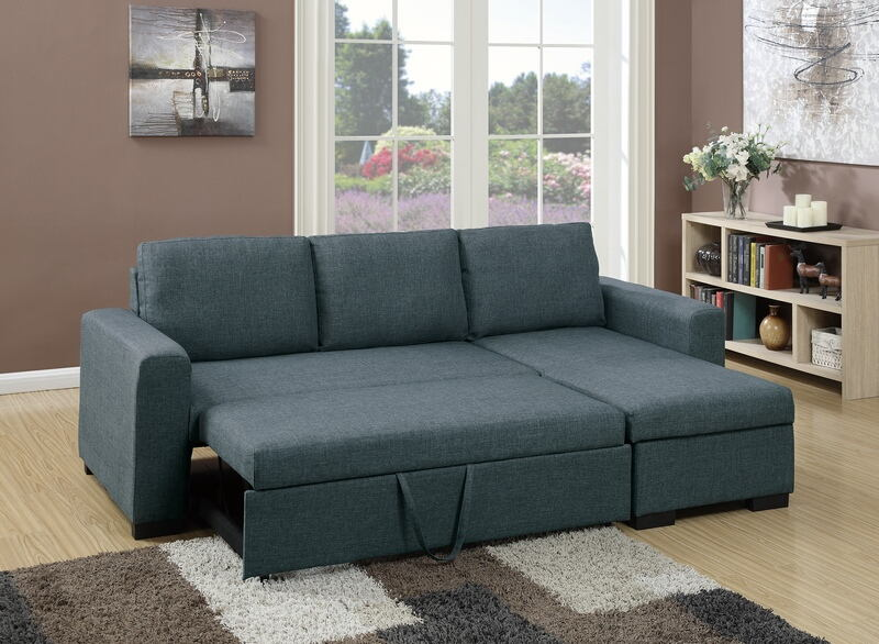 Poundex F6931 2 pc Everly collection blue grey polyfiber fabric upholstered sectional sofa set with pull out sleep area