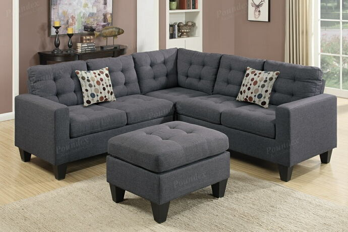 Poundex F6935 4 pc Pawnee collette grey polyfiber faux linen fabric sectional sofa