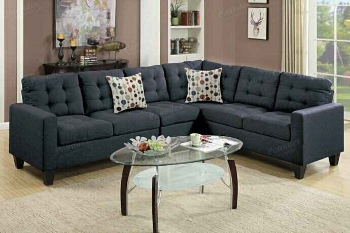 Poundex F6937 4 pc collette collection black polyfiber faux linen fabric upholstered modular sectional sofa