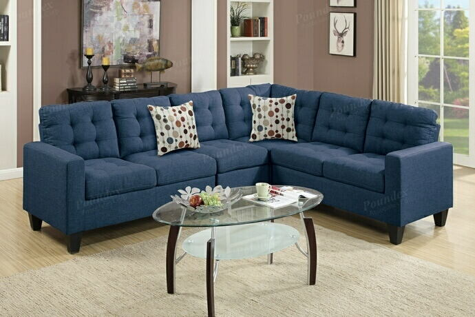 Poundex F6938 4 pc collette navy polyfiber faux linen fabric modular sectional sofa