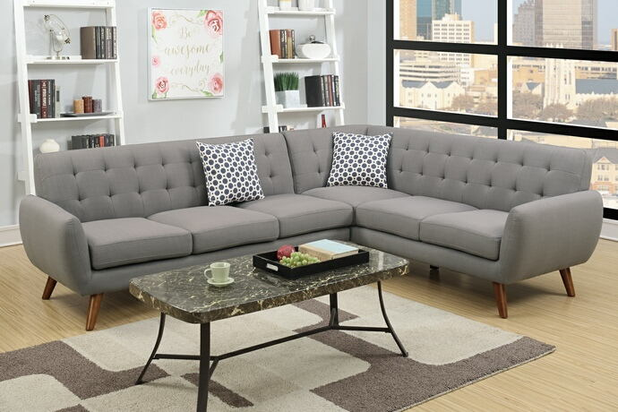 Poundex F6961 2 pc abigail ii collection grey linen like fabric upholstered sectional sofa with tufted back