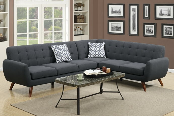 2 pc abigail ii collection ash black linen like fabric upholstered sectional sofa with tufted back