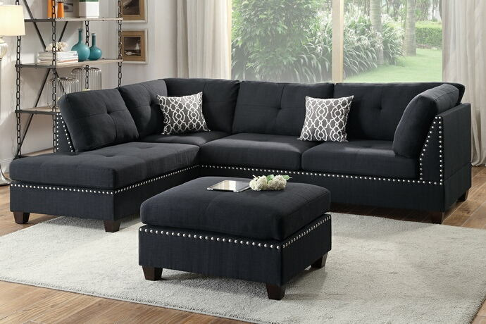 Poundex F6974 3 pc martinique collection black linen like fabric upholstered sectional sofa with reversible chaise and ottoman