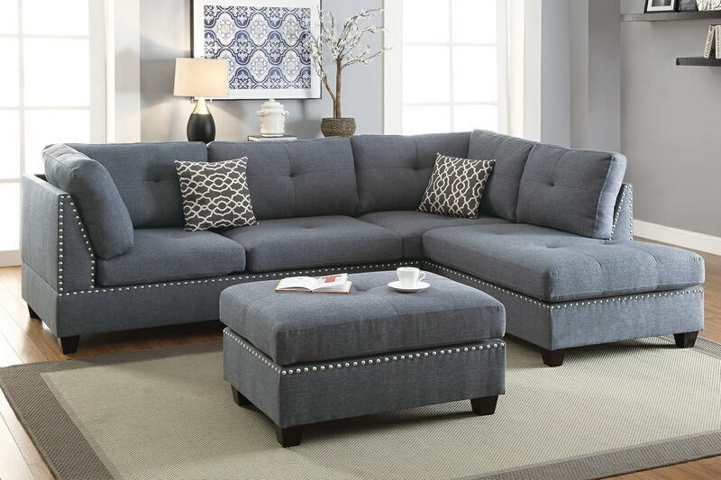 Poundex F6975 3 pc Charlemont martinique blue grey linen like fabric sectional sofa reversible chaise and ottoman
