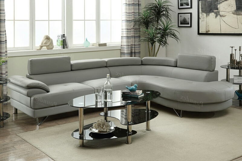 Poundex F6984 2 pc Orren ellis ketan light grey faux leather sectional sofa set rounded chaise