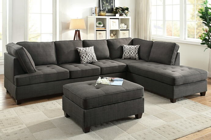 Poundex F6988 2 pc A&J homes studio naomi ash black dorris fabric sectional sofa reversible chaise